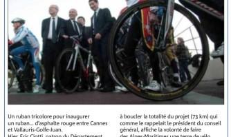 Inauguration de la piste cyclable qui relie Cannes à Vallauris-Golfe-Juan par le bord de mer