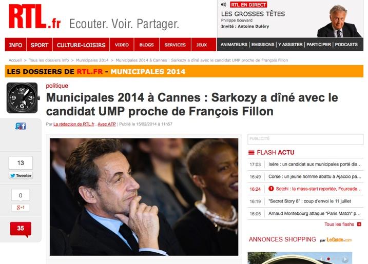 Municipales 2014 à Cannes : Sarkozy a dîné avec le candidat UMP proche de François Fillon