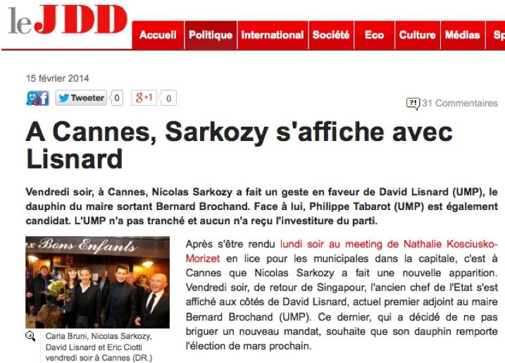A Cannes, Sarkozy s'affiche avec Lisnard