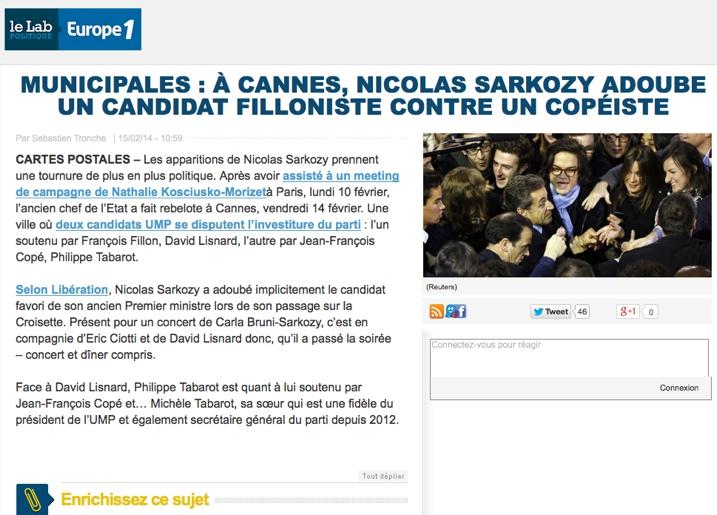 Municipales : à Cannes, Nicolas Sarkozy adoube un candidat filloniste contre un copéiste