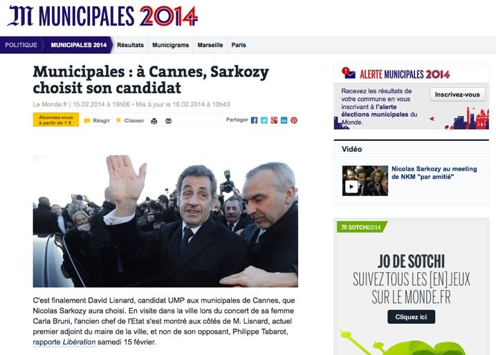 Municipales : à Cannes, Sarkozy choisit son candidat
