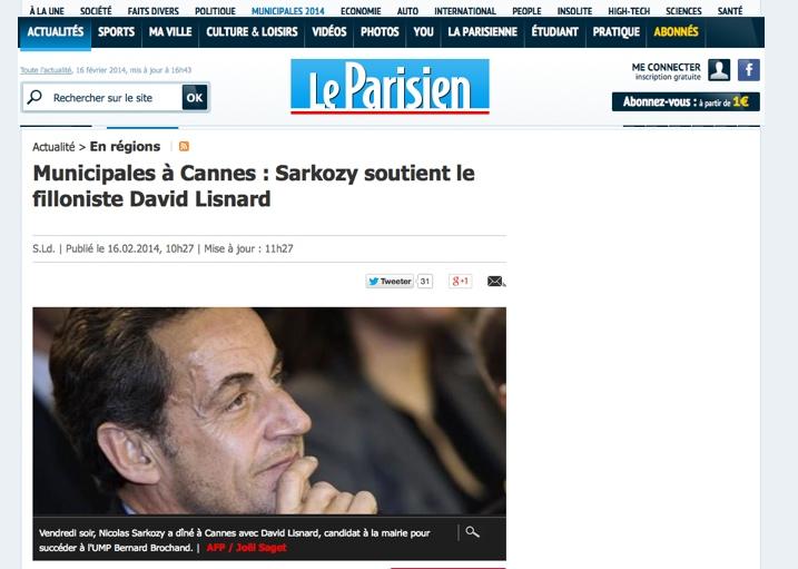 Municipales à Cannes : Sarkozy soutient le filloniste David Lisnard