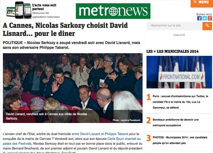 A Cannes, Nicolas Sarkozy choisit David Lisnard… pour le diner