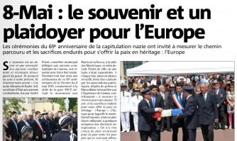 8 mai : le souvenir et un plaidoyer pour l'europe