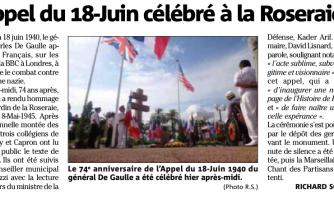 L'Appel du 18 juin célébré à la Roseraie
