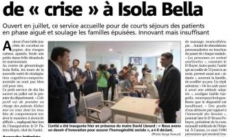 """Alzheimer : une unité de """"crise"""" à Isola Bella"""