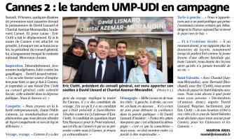 Cannes 2 : le tandem UMP-UDI en campagne