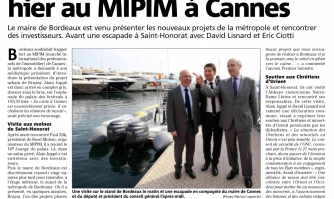 Alain Juppé en visite éclair au MIPIM à Cannes