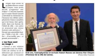 Hubert Reeves honoré par la municipalité