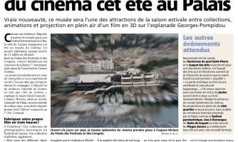 Un musée éphémère du cinéma cet été au Palais