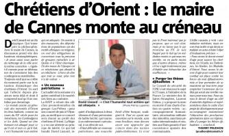 Chrétiens d'Orient : le maire de Cannes monte au créneau