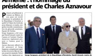Arménie : l'hommage du président, du maire et de Charles Aznavour