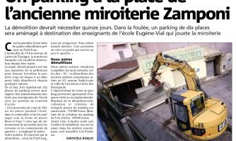 Un parking à la place de l'ancienne miroiterie Zamponi