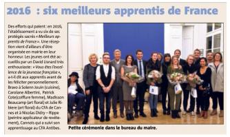 2016 : six meilleurs apprentis de France