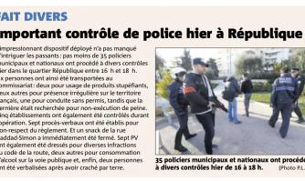 Important contrôle de police à République