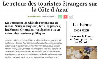 Les effets du plan de soutien et de relance du tourisme azuréen impulsé par le CRT Côte d'Azur France « Le retour des touristes étrangers sur la Côte d'Azur » Les Échos