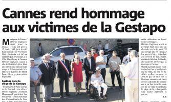Cannes rend hommage aux victimes de la Gestapo