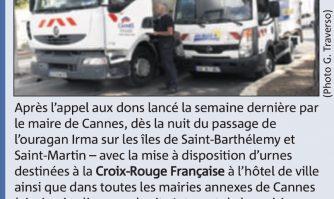 Deux camions de la Ville de Cannes envoyés hier aux Antilles pour approvisionner en eau potable les sinistrés