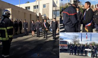 David Lisnard auprès des Sapeurs-Pompiers pour la Sainte-Barbe