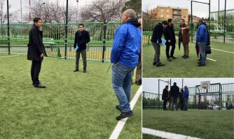 David Lisnard en visite de terrain à La Frayère pour contrôler la rénovation du City Stade