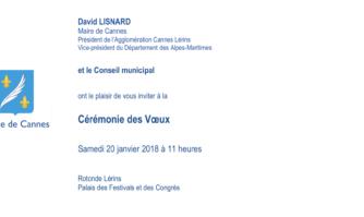 Cérémonie des vœux aux Cannois : le samedi 20 Janvier 2018