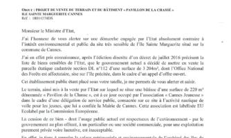 David Lisnard interpelle le Gouvernement qui souhaite vendre la Base nautique du Batéguier Florence Arthaud sur l'île  Sainte-Marguerite