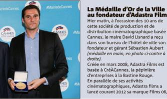 La Médaille d'Or de la Ville pour le fondateur d'Adastra Films