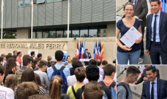 Une première en France : dévoilement de la plaque 100% Éducation Artistique et Culturelle au lycée Jules Ferry