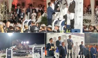 Remise du trophée lors du Jumping International de Cannes