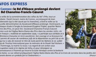 À Cannes : le Bd d'Alsace prolongé devient le Bd Chanoine Francis Cœuret