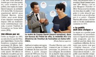 Chantal Marteu reçoit la médaille d'Or de la Ville de Cannes
