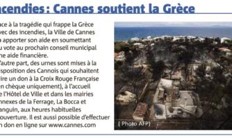 Incendies : Cannes soutient la Grèce