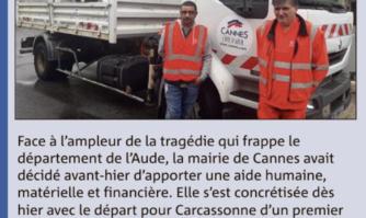 La Mairie de Cannes aide les communes sinistrées de l'Aude