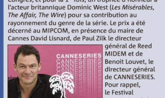 L'acteur Dominic West reçoit le premier trophée d'honneur de CanneSeries