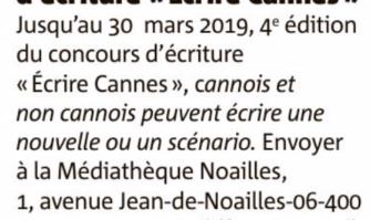 4e édition du concours d'écriture créative : Écrire à Cannes