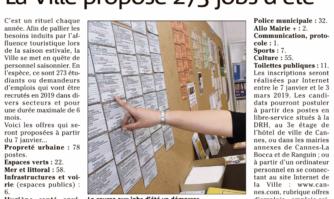 La Mairie de Cannes va proposer 273 jobs d'été