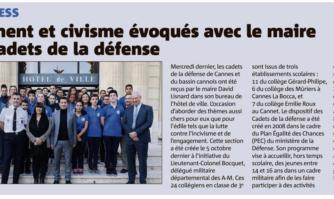 Engagement et civisme évoqués avec le Maire de Cannes par les cadets de la défense