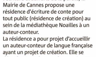 Appel à projet projet pour une résidence d'écriture de conte 2019