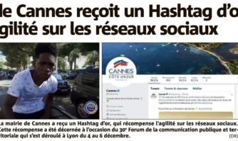 La Mairie de Cannes reçoit un Hashtag d'or pour son agilité sur les réseaux sociaux