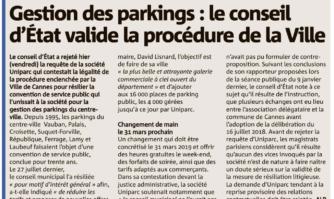 Gestion des parkings : le conseil d'Etat valide la procédure de la Ville de Cannes