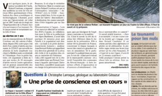Tsunami : quel risque pour la Côte