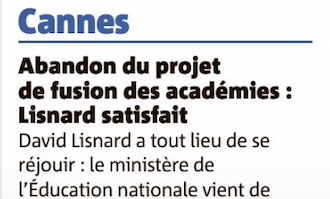 Cannes, abandon du projet de fusion des académies : David Lisnard satisfait