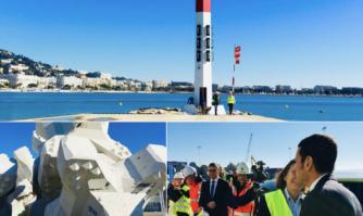 Visite de terrain sur le chantier de sécurisation et rénovation de la digue Laubeuf et du quai du Large
