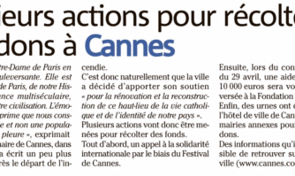La ville de Cannes va faire un don de 10.000 euros pour la restauration de la cathédrale Notre-Dame de Paris