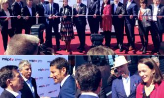 Inauguration du MipTV en présence de nombreuses personnalités de l'audiovisuel français