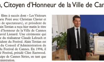 Le producteur Alain Terzian a reçu le diplôme d'honneur de la ville de Cannes