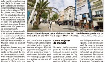 Une bâche géante contre l'incivisme a été déployée à Cannes
