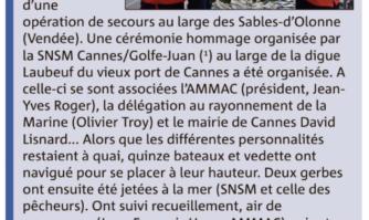 L'hommage de la SNSM Cannes-Golfe-Juan aux frères vendéens