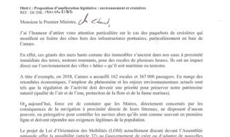 David Lisnard propose au Premier ministre, Edouard Philippe, de doter les Maires des communes du littoral d'un pouvoir de police afin de lutter contre les pollutions marines des paquebots