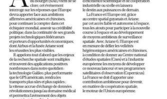 Cannes ville de l'industrie spatiale avec Thales : tribune pour une vraie politique spatiale française et européenne